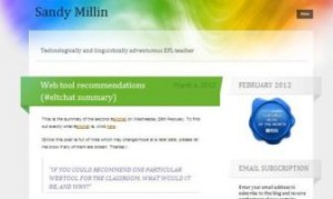 screenshot of Sandy Millen blog